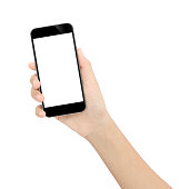 hand holding black phone isolated white clipping path inside