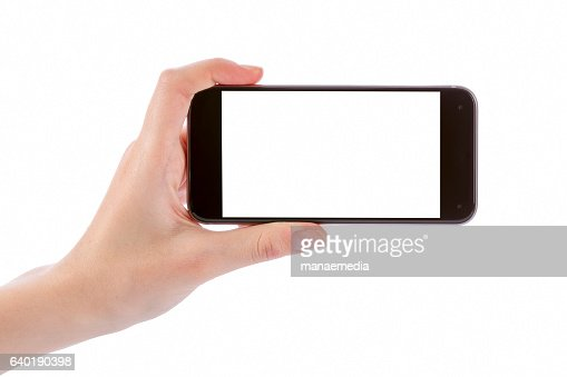 Hand holding black smart phone isolated on white : Foto de stock