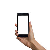Hand holding black smartphone with white screen for mock up isolated on white background with clipping path.