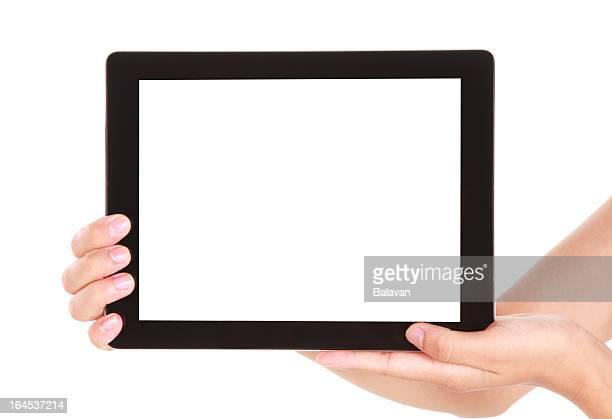 Hand holding leeren Bildschirm tablet PC auf weißem Hintergrund