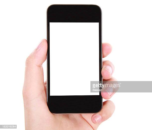 Hand holding blank screen smart phone on white background