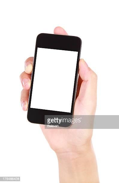Main tenant écran blanc téléphone intelligent sur fond blanc