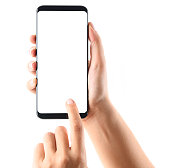 Woman hand holding and touching a touchscreen smart phone, isolated on white.