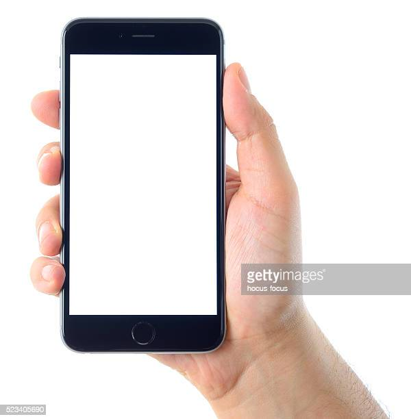 Hand holding blank white screen iPhone 6 Plus