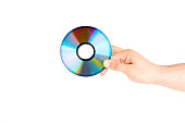 Hand Holding CD/DVD Disc Isolated On White Background