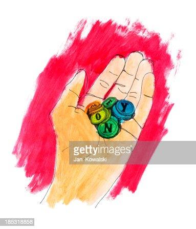 Mão segurando o dinheiro de cores