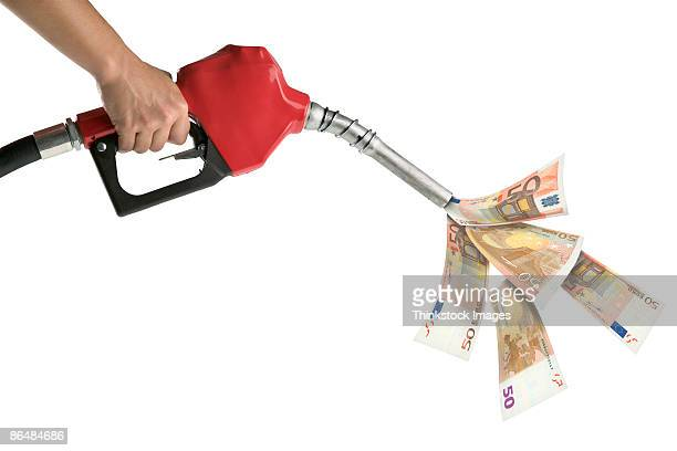 Hand holding gas pump with money