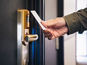 Hand Holding Key card Hotel room access Privacy security gate system
