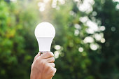 hand holding led bulb  on green nature background and sunshine. concept eco