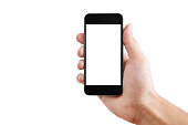 Hand holding Mobile smart phone blank white screen, isolated on white background. Clipping path included