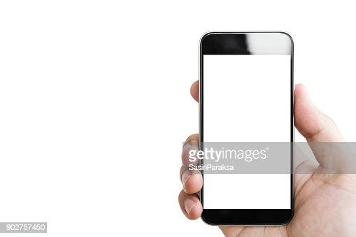 Hand holding mobile smart phone, blank white screen isolated on white background : Foto de stock