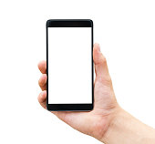 Hand holding mobile smart phone isolated on white background
