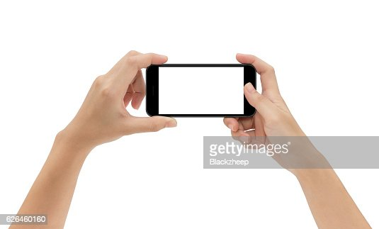 hand holding phone isolated on white background : Foto de stock