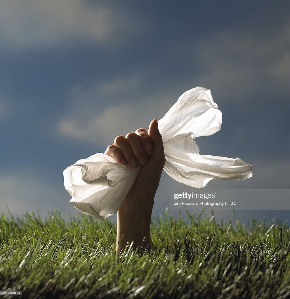 Hand holding plastic bag. : Stockfoto