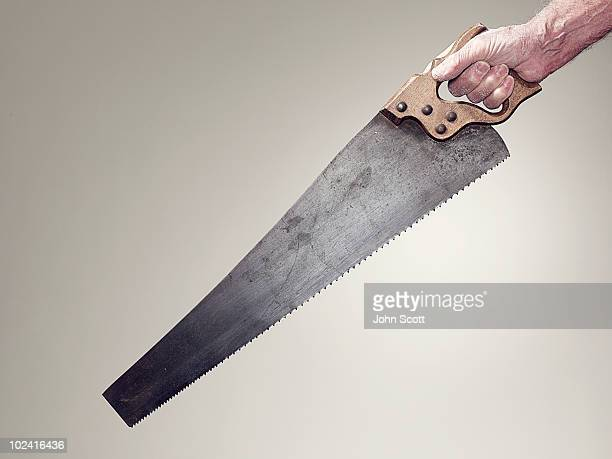 Hand holding saw