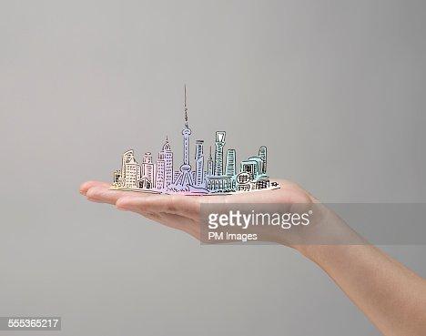 Hand holding Shanghai, China