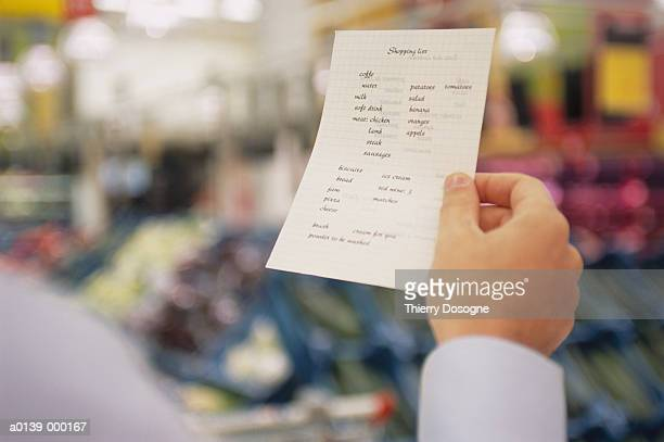 Hand Holding Shopping List