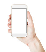 Hand holding smart phone - gold/white color with blank screen