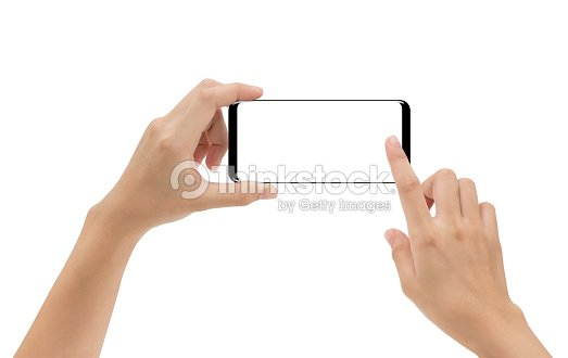 hand holding smartphone mobile and touching screen isolated on white background, cliping path inside : Stock Photo