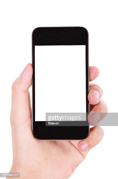 Hand holding smartphone with a blank white screen