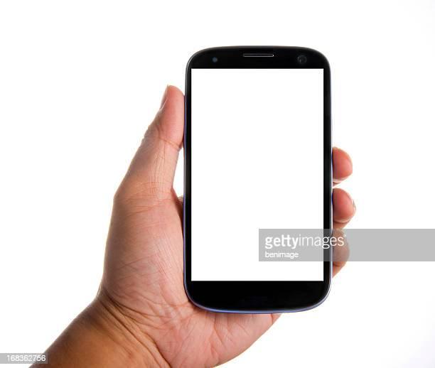 Main tenant smartphone avec écran vide