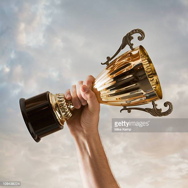 Hand holding trophy against sky