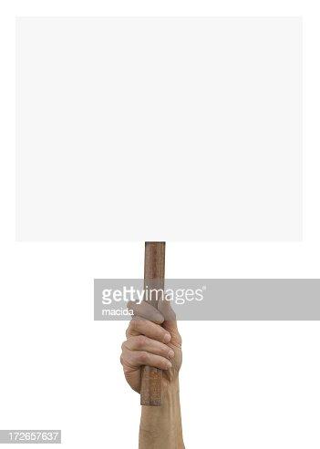 A hand holding up an blank placard