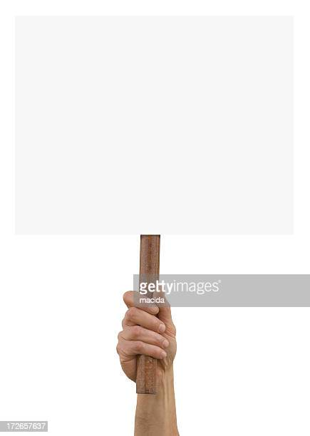 A hand holding up an blank placard