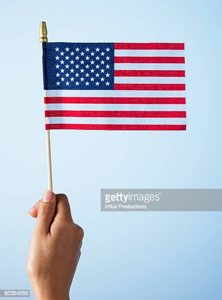 Hand holding U.S. flag