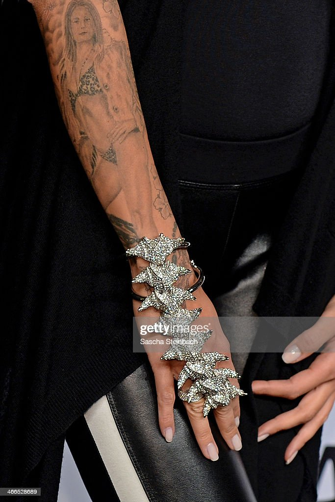 Hand jewelry is seen on Sarah Jones prior to the Milian by Annette Goertz show during Platform Fashion Dusseldorf on February 1, 2014 in Dusseldorf, Germany.