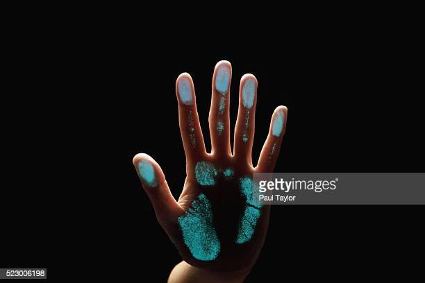 Hand leaving a handprint