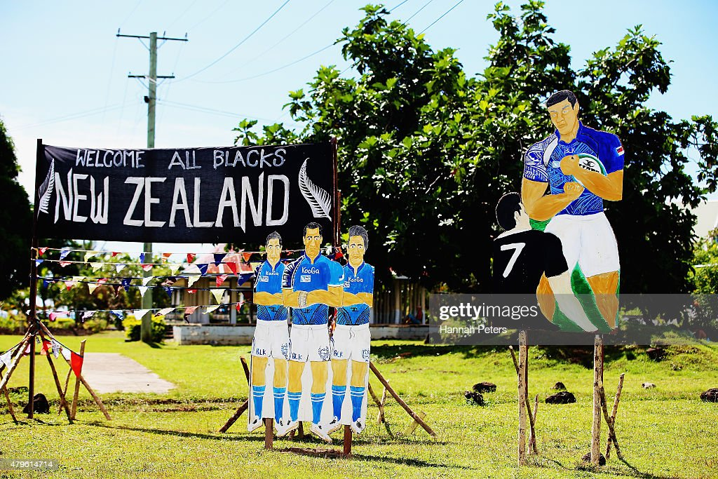 Hand made posters are seen ahead of the arrival of the New Zealand All Blacks on July 6 2015 in Apia Samoa The All Blacks play Manu Samoa on Wednesday