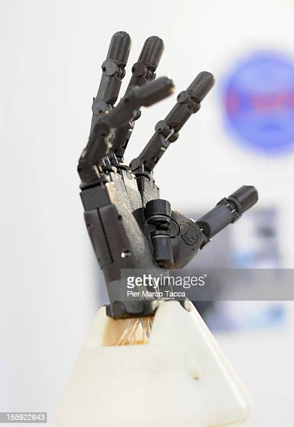 A hand of a robot is displayed at 2012 Robotica Humanoid and service Robots Expo At Milan Fair Center on November 8 2012 in Milan ItalyRobotica is...
