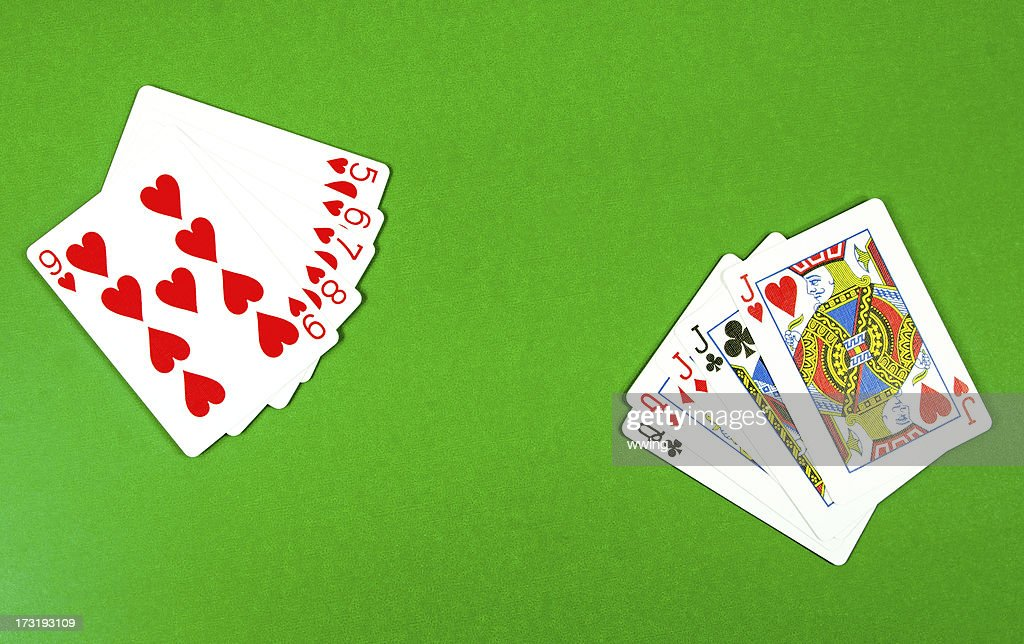 Hand of Cards... Full House : Stock Photo