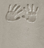 Hand prints on cement 1