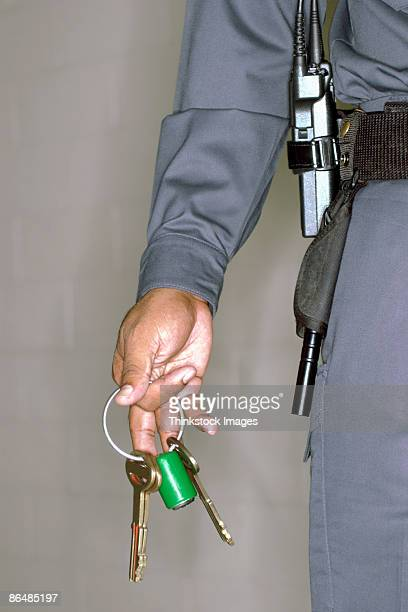 Hand of corrections officer with keys