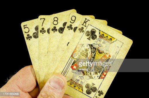 man flushes poker chips