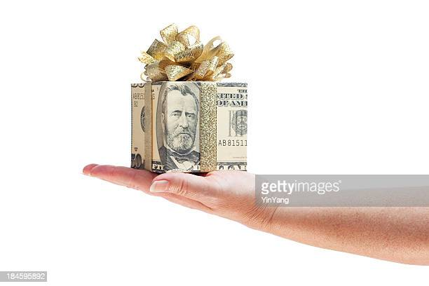 Hand Offering Gift of Money in Gold Ribbon on White