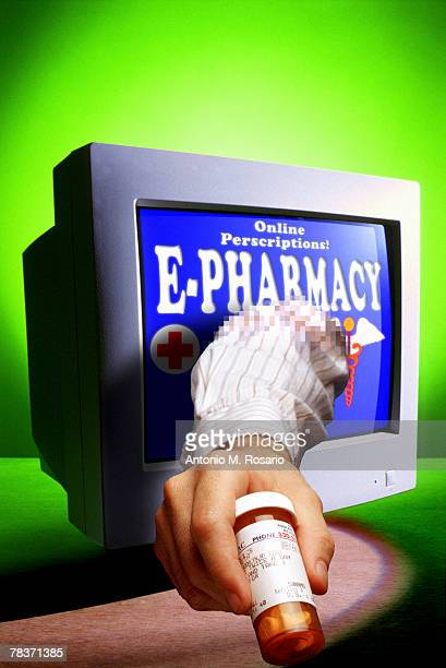 Hand offering prescription from computer