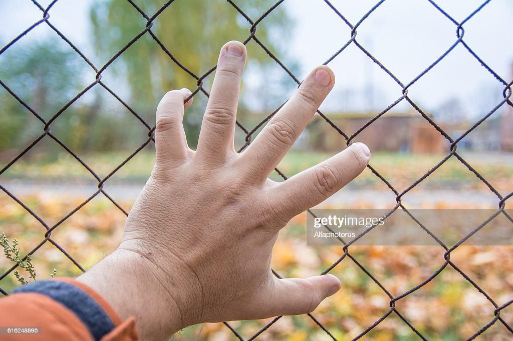 hand on a fence, there is no way, Chernobyl : Stock-Foto