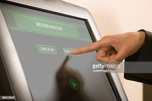 Hand operating touch screen