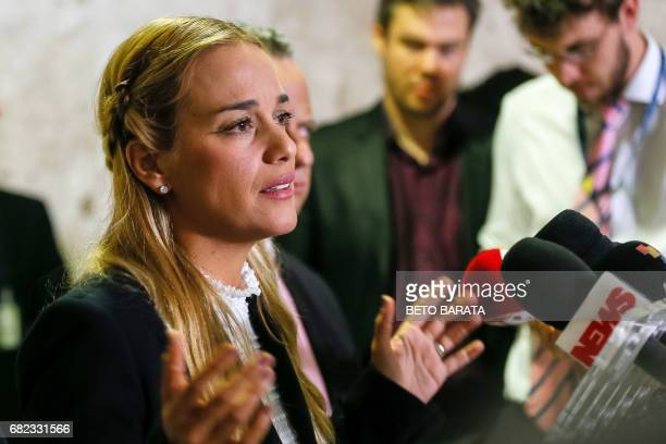 Hand out picture released by Brazilian Presidency showing Lilian Tintori wife of jailed Venezuelan opposition leader Leopoldo Lopez after a meeting...