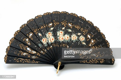 Hand Painted Black Spanish Fan Made of Ebony