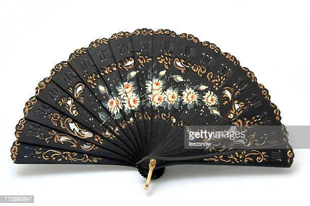 Hand Painted Black Spanish Fan Made of Ebony