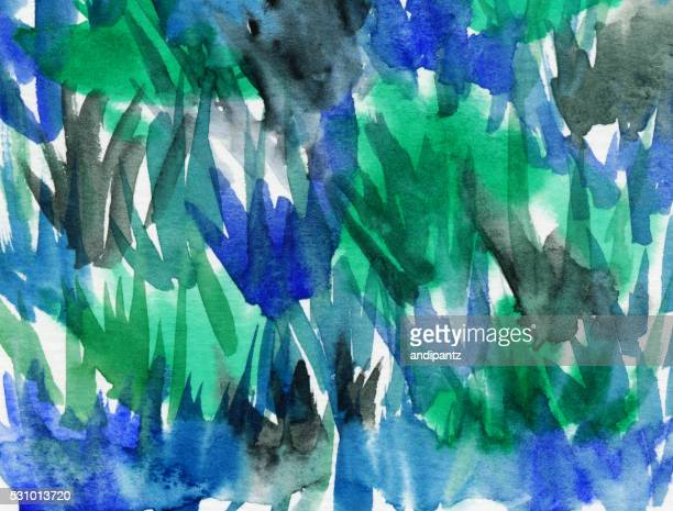 Hand painted blue and green textured background with brush strokes