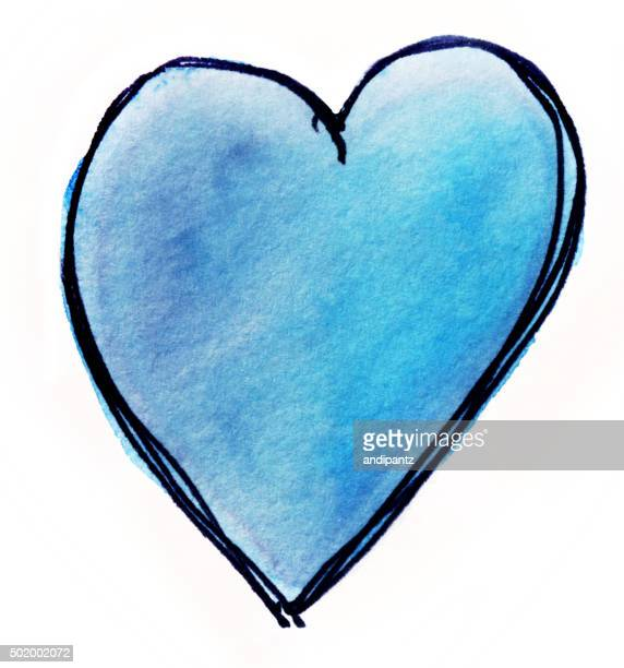 Hand painted blue heart on isolated white background