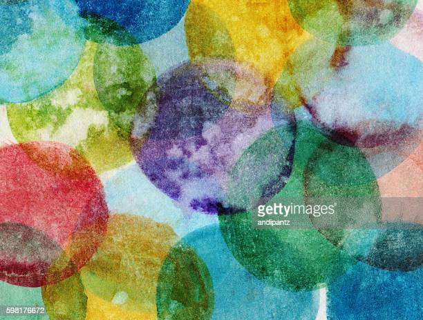 Hand painted distressed background with multiple colored circles