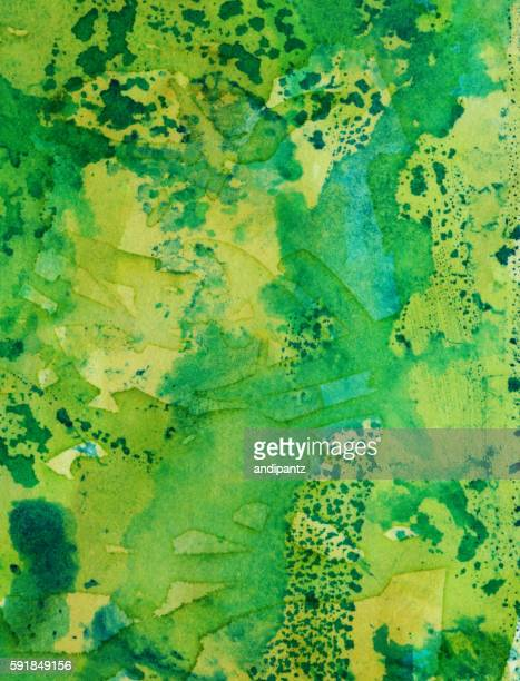 Hand painted distressed background with shades of green