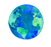 hand painted Earth globe. watercolor artwork