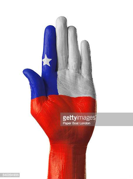 Hand painted flag of Chile on white background
